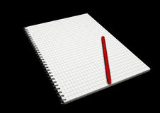 Copy book wiht red pen in perspective. Illustration of copy book wiht red pen in perspective on black background Royalty Free Stock Images