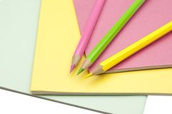 Copy-books y lápices Fotografía de archivo libre de regalías