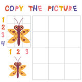 Copy the butterfly picture using the grid, education game for children. Kids learning game insects isolated on white background. V Royalty Free Stock Photos