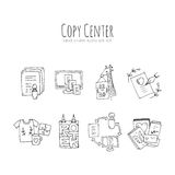 Copy center icons set. Hand-drawn copy center icons set. Nice doodle icons for web usage and infographics for print shops and copy centers Royalty Free Stock Photo