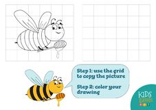 Copy and color picture vector illustration, exercise. Funny bee cartoon character. For drawing and coloring game for preschool kids royalty free illustration