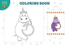 Copy and color picture vector illustration, exercise. Funny cartoon hippo with drum. For drawing and coloring game for preschool kids royalty free illustration