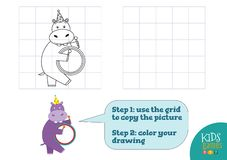 Copy and color picture vector illustration, exercise. Funny cartoon hippopotamus. For drawing and coloring game for preschool kids stock illustration