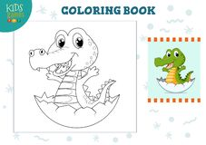 Copy and color picture vector illustration, exercise. Funny cartoon little crocodile for drawing and coloring game for preschool kids stock illustration