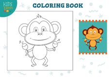 Copy and color picture vector illustration, exercise. Funny cartoon monkey. With maracas for drawing mini game for preschool kids vector illustration