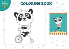 Copy and color picture vector illustration, exercise. Funny cartoon panda. With bike for drawing and coloring game for preschool kids stock illustration