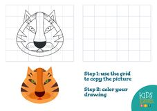 Copy and color picture vector illustration, exercise. Funny tiger cartoon head for drawing. And coloring game for preschool kids vector illustration