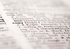 Copy definition. In English German dictionary stock image