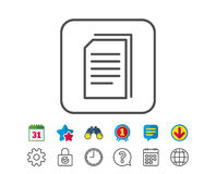 Copy Documents line icon. File sign. Copy Documents line icon. Copying Files sign. Paper page concept symbol. Calendar, Globe and Chat line signs. Binoculars Royalty Free Stock Image