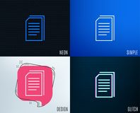 Copy Documents line icon. File sign. Glitch, Neon effect. Copy Documents line icon. Copying Files sign. Paper page concept symbol. Trendy flat geometric designs Stock Image