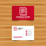 Copy file sign icon. Duplicate document symbol. Business card template. Copy file sign icon. Duplicate document symbol. Phone, globe and pointer icons. Visiting Royalty Free Stock Photography