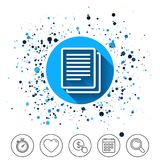 Copy file sign icon. Duplicate document symbol. Button on circles background. Copy file sign icon. Duplicate document symbol. Calendar line icon. And more line Royalty Free Stock Image