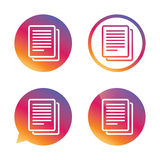 Copy file sign icon. Duplicate document symbol. Gradient buttons with flat icon. Speech bubble sign. Vector Stock Photo