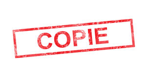 Copy in French translation in red rectangular stamp Stock Image