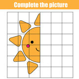 Copy by grid. Complete the picture children educational game, coloring page.. Kids activity sheet with cute sun character. Printable drawing worksheet Stock Image