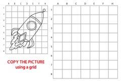 Copy grid picture rocket vector illustration
