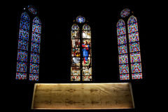 Copy of the holy shroud. A copy of the holy shroud in the cathedral of Saint Francis de Sales, in Chambery Royalty Free Stock Photos