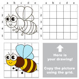 Copy the image using grid. Bee. Copy the picture using grid lines. Easy educational game for kids. Simple kid drawing game with Bee royalty free illustration