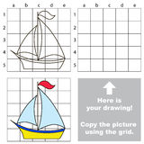Copy the image using grid. Boat. Copy the picture using grid lines. Easy educational game for kids. Simple kid drawing game with Boat vector illustration
