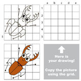 Copy the image using grid. Bug. Copy the picture using grid lines. Easy educational game for kids. Simple kid drawing game with Bug stock illustration