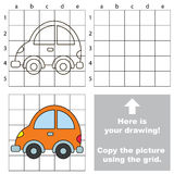 Copy the image using grid. Car. Copy the picture using grid lines. Easy educational game for kids. Simple kid drawing game with Car stock illustration