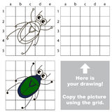 Copy the image using grid. Chafer. Copy the picture using grid lines. Easy educational game for kids. Simple kid drawing game with Chafer royalty free illustration
