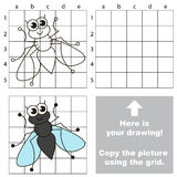 Copy the image using grid. Fly. Copy the picture using grid lines. Easy educational game for kids. Simple kid drawing game with Fly vector illustration