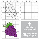 Copy the image using grid. Grapes. Copy the picture using grid lines. Easy educational game for kids. Simple kid drawing game with Grapes stock illustration