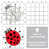 Copy the image using grid. Ladybug. Copy the picture using grid lines. Easy educational game for kids. Simple kid drawing game with Ladybug vector illustration