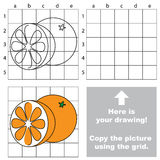Copy the image using grid. Orange. Copy the picture using grid lines. Easy educational game for kids. Simple kid drawing game with Orange royalty free illustration