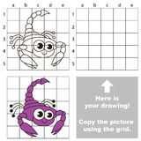 Copy the image using grid. Scorpion. Royalty Free Stock Photography