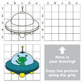 Copy the image using grid. Ufo. Copy the picture using grid lines. Easy educational game for kids. Simple kid drawing game with Ufo vector illustration
