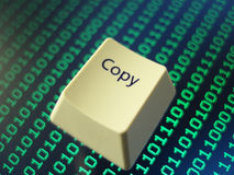 Copy key. A copy key: symbolic computer security and the sharing or theft of digital data Royalty Free Stock Image