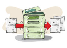 Copy Machine copies some documents. Hand drawn illustration. Vector is available Royalty Free Stock Images