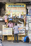 Copy machine shop wayside. A man talk with his consumer in his knockdown shop wayside in Mumbai, Indian. report at april 2016 Stock Photography