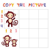 Copy the mantis picture using the grid, education game for children. Kids learning game Funny brown monkey  on white backg Royalty Free Stock Photos