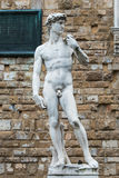 Copy of Michelangelo's David, Piazza della Signoria, Florence. A copy of the statue of David by Michelangelo, in the background of the Palazzo Vecchio in Piazza Stock Images