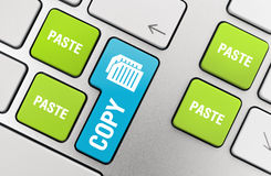 Copy - Paste. Concept on modern aluminum keyboard Royalty Free Stock Images