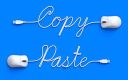 Copy-Paste concept. With computer mouse and cable - 3D illustration stock illustration
