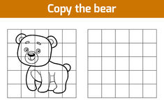 Copy the picture (bear). Copy the picture, education game for children (bear vector illustration