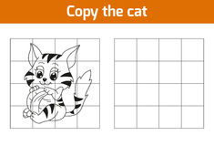 Copy the picture: cat. Copy the picture, education game: cat vector illustration