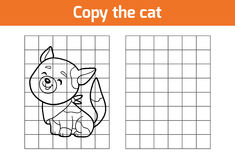 Copy the picture (cat). Copy the picture, education game for children (cat stock illustration