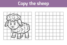 Copy the picture for children. Animal characters, sheep Royalty Free Stock Photography