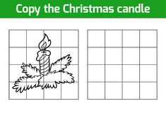 Copy the picture: Christmas candle. Copy the picture, education game: Christmas candle royalty free illustration