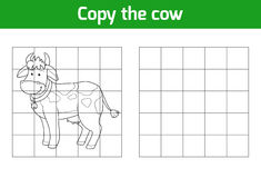 Copy the picture: cow. Copy the picture, education game: cow vector illustration