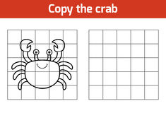 Copy the picture (crab). Copy the picture, education game for children (crab vector illustration