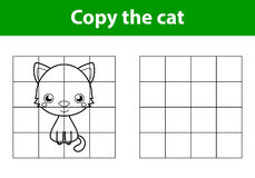 Copy the picture, education game for children:cat Stock Photo