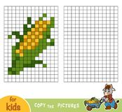 Copy the picture, education game, Corn. Copy the picture by squares, education game for children, Corn Royalty Free Stock Photo