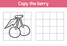 Copy the picture. Fruits and vegetables, berry. Copy the picture, education game for children. Fruits and vegetables, berry vector illustration