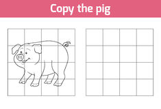 Copy the picture: pig. Copy the picture, education game: pig vector illustration